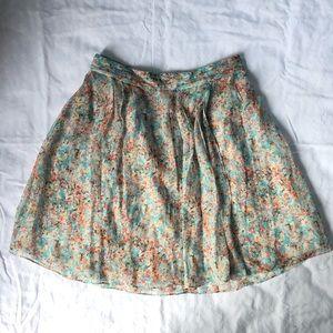 100% Silk Floral Skirt